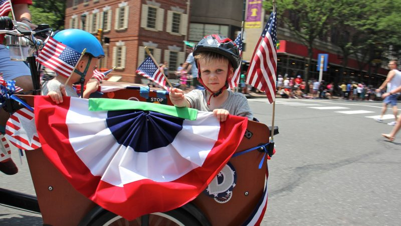 Decorated bicycles join the Philadelphia Independence Day parade on Market Street. (Emma Lee/WHYY)