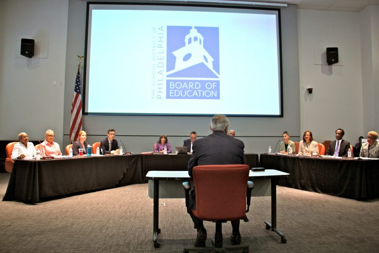 Philadelphia Mayor Jim Kenney addresses the city's new local Board of Education at their first meeting since the dissolution of the state-appointed School Reform Commission.