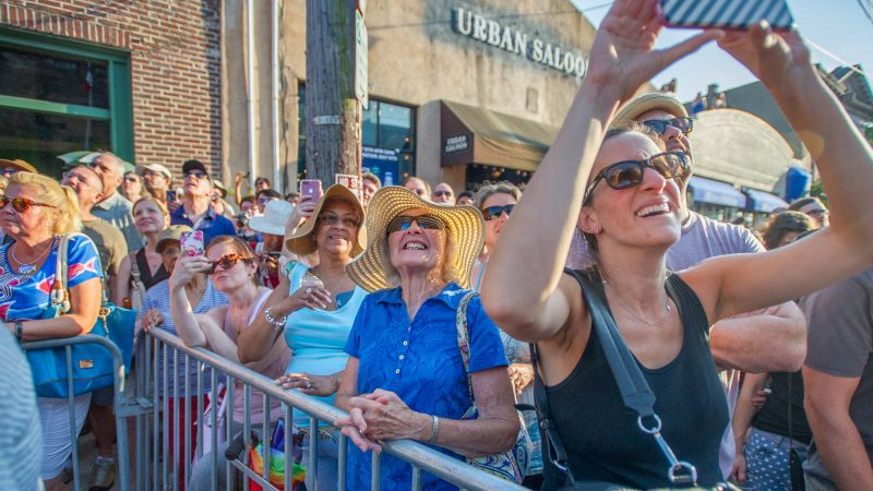 Fans enjoy the Bearded Ladies farewell Bastille Day performance.(Jonathan Wilson for WHYY)