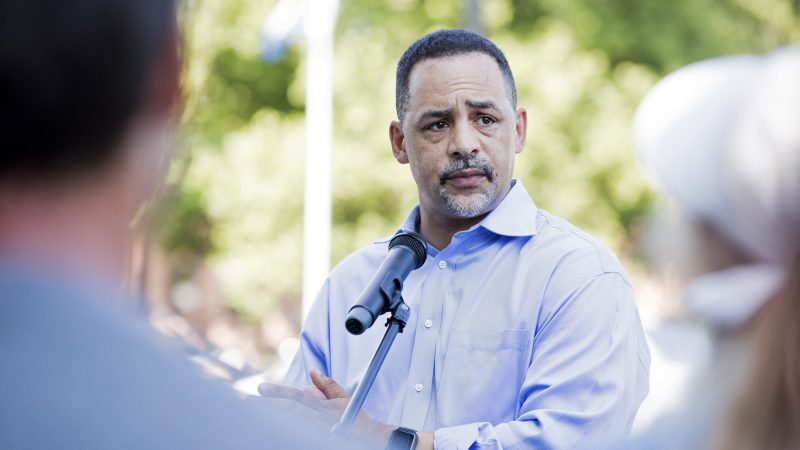 Pennsylvania state Rep. Chris Rabb speaks at a rally in July 2018 (Rachel Wisniewski for WHYY)