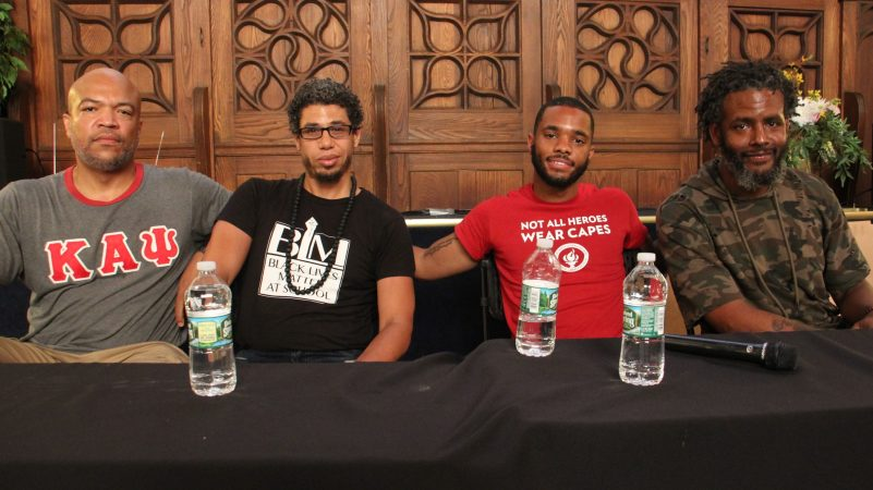 Four Philadelphia educators (from left) Will Mega, Ismael Jimenez, Quamiir Trice, and Ben Slater, share their experiences with racial profiling during a workshop at People's Education Center in Germantown. (Emma Lee/WHYY)