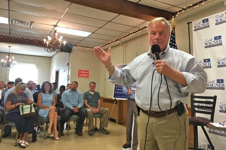 Pennsylvania gubernatorial candidate Scott Wagner campaigns at a town hall in Glenside