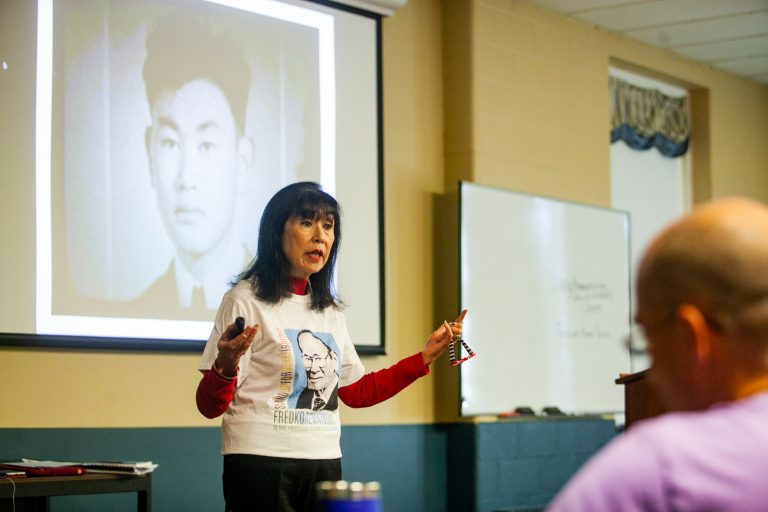 Karen Korematsu  addressed a group of teachers about her father's legal battle against internment during World War II. Her talk was given at the nonpartisan Freedoms Foundation at Valley Forge. (Brad Larrison for WHYY)