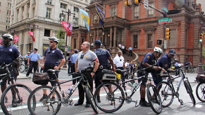 Philadelphia police guard the Union League, where Vice President Mike Pence spoke in support of Senate candidate Lou Barletta. (Emma Lee/WHYY)