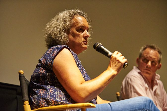 Elisa Gambino, the Executive Director of the 2015 documentary, Help Us Find Sunil Tripathi, answers questions during a Q&A about the film at the Bryn Mawr Film Institute on July 26, 2018. (Natalie Piserchio for WHYY)