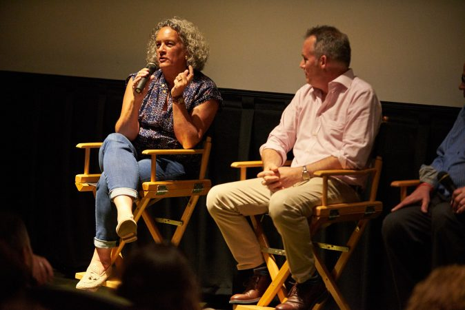 Elisa Gambino, Executive Producer of Help Us Find Sunil Tripathi, and her husband, Neal Broffman, the Film Director, sit together during a Q&A of the 2015 documentary. They both worked for CNN for a combined 25 years. (Natalie Piserchio for WHYY)