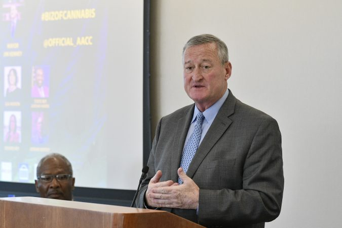 Mayor Jim Kenney speaks to a SRO crowd at a forum on the business of medicinal and recreational use of cannabis in the African-American community, at an event held on Thursday. (Bastiaan Slabbers for WHYY)
