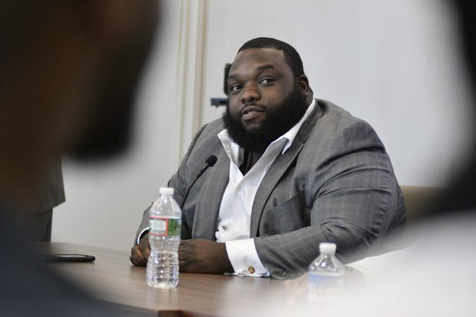 State Rep. Jordan Harris, chairman of the Pennsylvania Legislative Black Caucus, takes part in a forum on the business of medicinal and recreational use of cannabis in the African-American community. (Bastiaan Slabbers for WHYY)