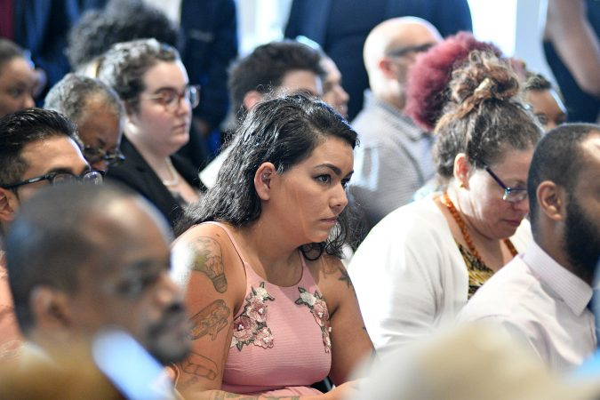 SRO crowd attends a forum on the business of medicinal and recreational use of cannabis in the African-American community, at an event held in Center City, on Thursday. (Bastiaan Slabbers for WHYY)