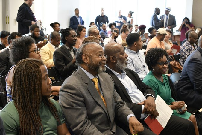 Standing-room-only crowd at a forum on the business of medicinal and recreational use of cannabis in the African-American community, at an event held in Center City, on Thursday. (Bastiaan Slabbers for WHYY)