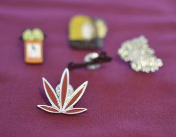 A pin of a stylized cannabis leaf lays on a table with information at a forum on the business of medicinal and recreational use of cannabis in the African-American community. (Bastiaan Slabbers for WHYY)