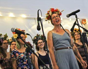 The Philadelphia Women's Slavic Ensemble performs at Bertram's Gardens Sunday. (Kimberly Paynter/WHYY)