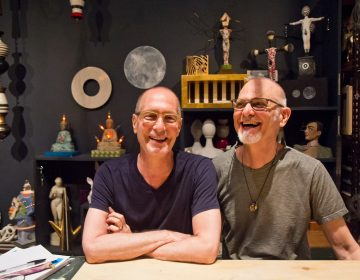 Dan Martin and Michael Biello at their studio in Old City. (Kimberly Paynter/WHYY)