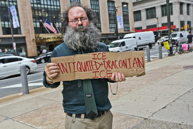 Wallace Kemp is an artist and protester who camped out with the Occupy movement in 2011. (Kimberly Paynter/WHYY)