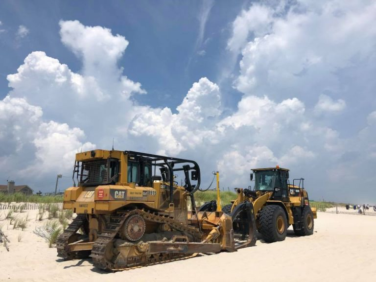 Heavy machinery on the beach in South Seaside Park in mid-July. (Image: Dominick Solazzo)