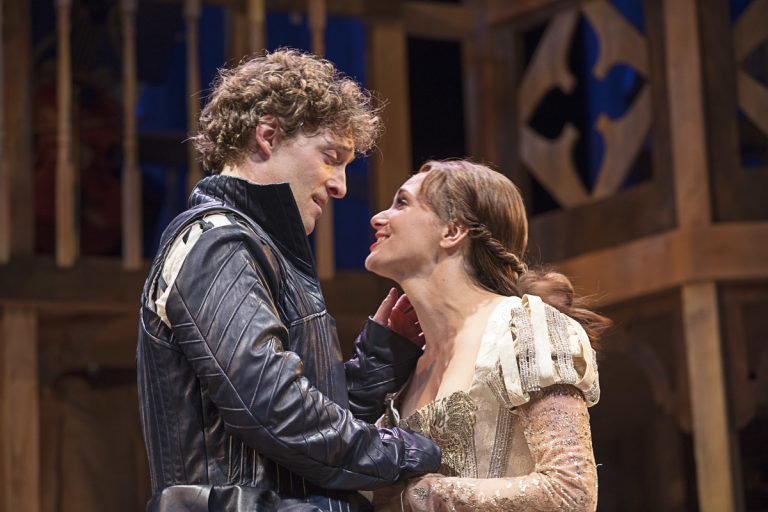 Luigi Sottile and Mairin Lee in the Pennsylvania Shakespeare Festival's production of