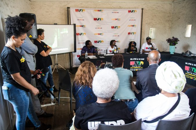 "WURD Radio hosted a panel on inner city violence and a screening of the documentary ""Quest"" at Bartram's Garden Thursday. (Kimberly Paynter/WHYY)"