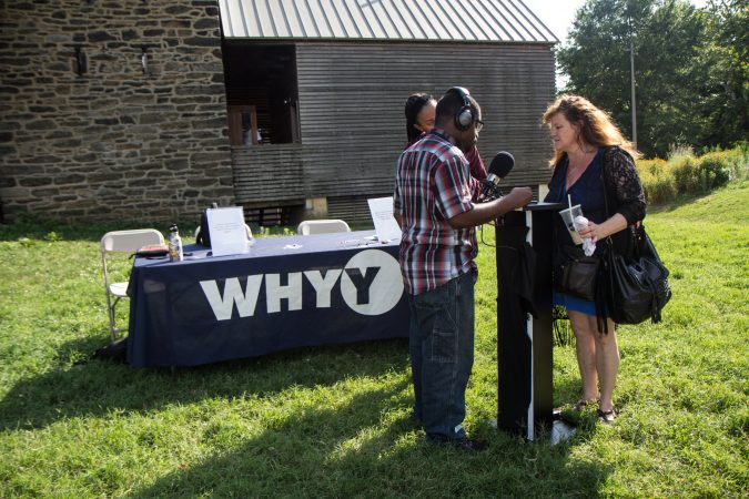 Deborah Young shares her experience with violence at the the WURD event at Bartram's Garden. (Kimberly Paynter/WHYY)