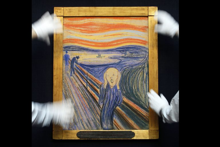 Edvard Munch's 'The Scream' is seen as it is hung for display at Sotheby's Auction Rooms in London, Thursday, April 12, 2012.  (AP Photo/Kirsty Wigglesworth)