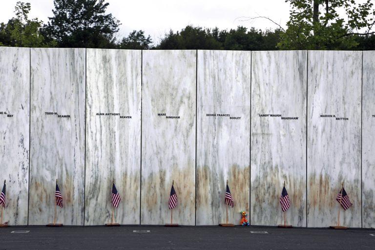 The Wall of Names rises at the Flight 93 National Memorial in Somerset County, Pennsylvania (AP Photo/Gene J. Puskar)