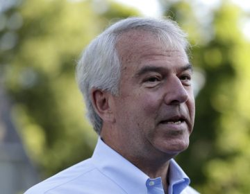 Bob Hugin, a Republican candidate running in the New Jersey primary election for U.S. Senate, talks to reporters after casting his vote in the New Jersey primary election, Tuesday, June 5, 2018, at the Lincoln-Hubbard School in Summit, N.J. (Julio Cortez/AP Photo)