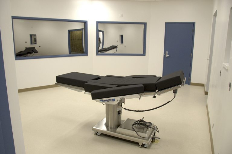 This Nov. 10, 2016, file photo, released by the Nevada Department of Corrections, shows the execution chamber at Ely State Prison in Ely, Nev. Nevada plans to carry out its first execution in 12 years using a never-before-tried combination of drugs that drew a court challenge over concerns that a convicted murderer could suffer during the lethal injection. Scott Raymond Dozier is scheduled to die July 11, 2018. An American Civil Liberties Union of Nevada official called for Gov. Brian Sandoval or prisons chief James Dzurenda to stop the planned execution until questions about the process and drugs are answered. (Nevada Department of Corrections via AP, File)