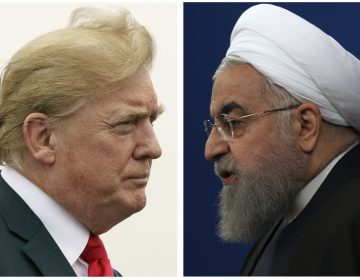 """COMBO - This combination of two pictures shows U.S. President Donald Trump, left, on July 22, 2018, and Iranian President Hassan Rouhani on Feb. 6, 2018. In his latest salvo, Trump tweeted late on Sunday, July 22 that hostile threats from Iran could bring dire consequences. This was after Iranian President Rouhani remarked earlier in the day that """"American must understand well that peace with Iran is the mother of all peace and war with Iran is the mother of all wars."""" Trump tweeted: """"NEVER EVER THREATEN THE UNITED STATES AGAIN OR YOU WILL SUFFER CONSEQUENCES THE LIKE OF WHICH FEW THROUGHOUT HISTORY HAVE EVER SUFFERED BEFORE."""" (AP Photo)"""
