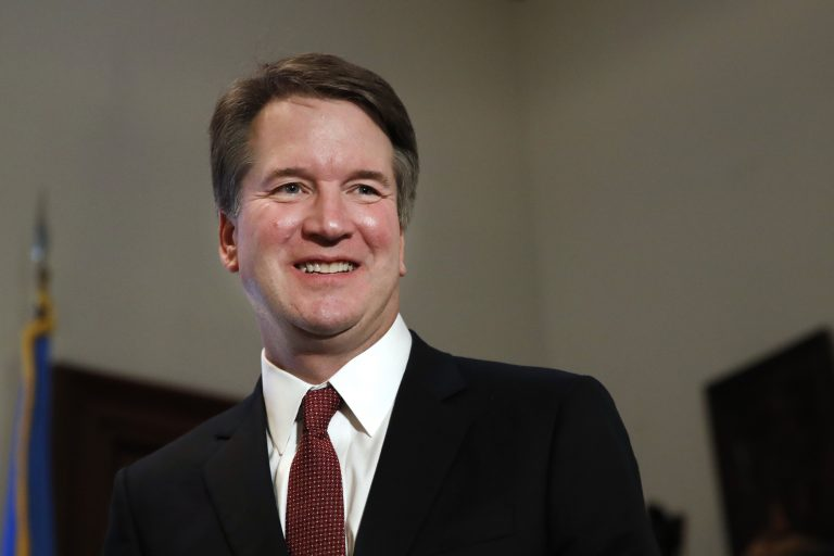 "In this July 26, 2018, photo, Supreme Court nominee Judge Brett Kavanaugh meets with Sen. Jim Inhofe, R-Okla., on Capitol Hill in Washington. More than a decade after he served as what's been called the president's ""inbox and outbox,"" Kavanaugh's role as White House staff secretary to President George W. Bush has become a flashpoint as Republicans push his confirmation to the Supreme Court. (AP Photo/Jacquelyn Martin)"