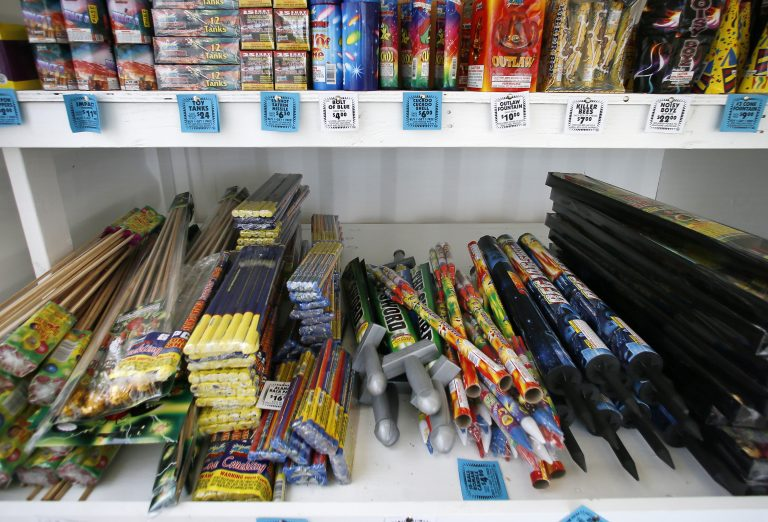 An assortment of fireworks on a shelf for sale. (Tony Gutierrez/AP Photo, file)