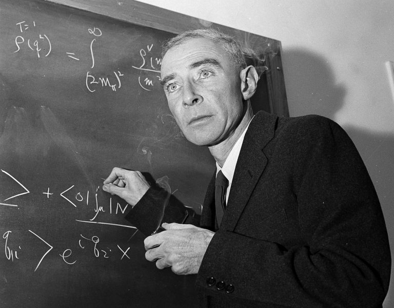 Dr. J. Robert Oppenheimer, creator of the atom bomb, is shown at his study in Princeton University's Institute for Advanced Study, Princeton, N.J. He was accused of having communist sympathies. (AP Photo/John Rooney, File)