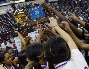 Neumann-Goretti players reach for the championship trophy at the end of a PIAA high school Class AA Girls championship basketball game against Seton LaSalle in Hershey, Pa. on Friday, March 20, 2015. Nuemann-Goretti won 79 - 34.