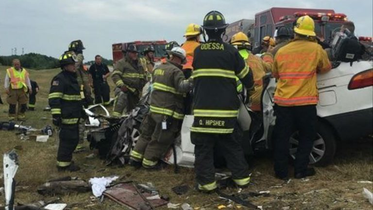 Emergency workers respond to the scene of a crash that killed five members of the same family in Delaware Friday afternoon on Route 1. (Courtesy Clayton Fire Department)