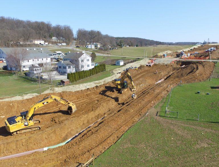 Atlantic Sunrise Pipeline construction in Lancaster County. (Marie Cusick / StateImpact Pennsylvania)