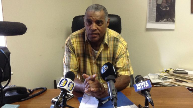Former WHA board chairman Herman Holloway said he will fight until WHA's new executive  director John Hill is reconsidered. (Zoe Read/WHYY)