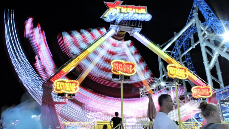 The Cyclone at Playland's Castaway Cove spins around