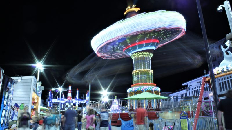 The riders blur by on the carousel at Gillian's Wonderland Pier in Ocean City. (Bill Barlow/for WHYY)