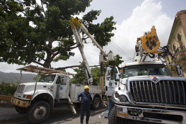 Workers from the power company, PREPA, work on a downed line in Utuado. Branches from a tree fell on the line, breaking it and causing a transformer to explode. (Irina Zhorov/WHYY)