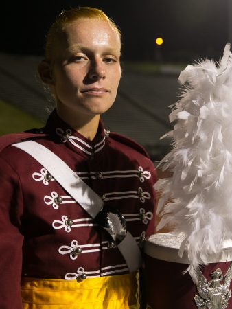 Cadet drum captain Claire Albrecht, after the Cadets first home performance.