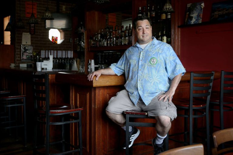 Mike Scotese sits for a portrait in his bar, the Grey Lodge Pub, in Northeast Philadelphia on Thursday, June 28, 2018. Scotese said the bar business is not going as well as it once did. (TIM TAI, Inquirer/Daily News Staff Photographer)
