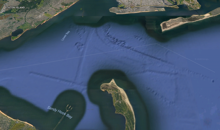 A massive storm surge barrier stretching from Sandy Hook, New Jersey to Breezy Point, New York is among hazard reduction proposals under consideration by the U.S. Army Corps of Engineers. (Google Maps image)