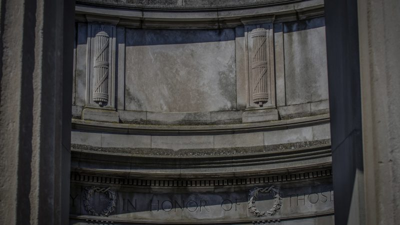Although the Greek temple was conceived first as a decorative monument in 1907, construction was delayed by the war and it was ultimately dedicated to those who served in World War I.  (Anthony Smedile for WHYY)