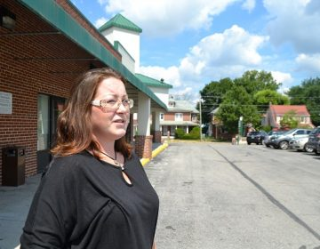 Stacy Zeigler stands for a portrait outside Open Arms Recovery Center in Hanover, York County. Zeigler has been off heroin for more than three years. She takes two doses of buprenorphine combined with naloxone each day. (Brett Sholtis/Transforming Health)