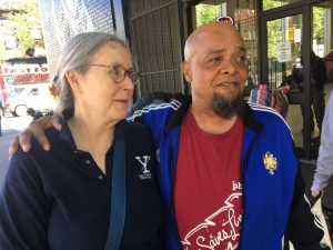 Bryan Allyene (right) has worked as a peer at Insite since it opened in 2003. He was active in leading the push for its opening as a leader in the Vancouver Area Network of Drug Users. Photo by Elana Gordon, WHYY