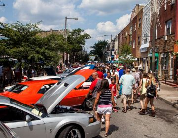 Summer visitors flock to the Passyunk Avenue car show in July.