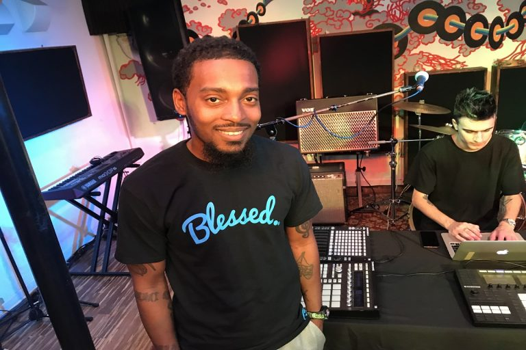 Philadelphia rapper Chill Moody at The Boom Room recording studio in Fishtown. (Jennifer Lynn/WHYY)