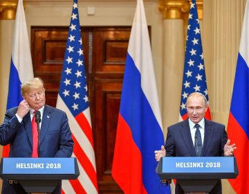 President Donald Trump and Russia's President Vladimir Putin hold a joint press conference after a meeting at the Presidential Palace in Helsinki, on Monday. (Yuri Kadobnov/AFP/Getty Images)