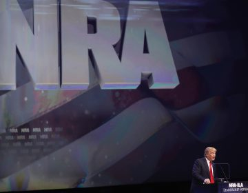 Then-Republican presidential candidate Donald Trump speaks at the National Rifle Association's NRA-ILA Leadership Forum during the NRA Convention at the on May 20, 2016, in Louisville, Ky.