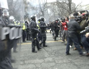 Demonstrators clashed with police on Inauguration Day last year, resulting in more than 200 arrests. The last of those cases have now been dismissed by prosecutors. (Stephen J. Boitano/LightRocket via Getty Images)