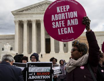 Abortion rights supporters and opponents protest outside the U.S. Supreme Court on January 27, 2017. The issue of abortion will spark millions of dollars in spending on advocacy for and against President Trump's Supreme Court nominee. (Zach Gibson/AFP/Getty Images)