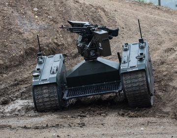 An autonomous tank is demonstrated in France last month. Leading researchers in artificial intelligence are calling for laws against lethal autonomous weapons. They also pledge not to work on such weapons. (Christophe Morin/IP3/Getty Images)